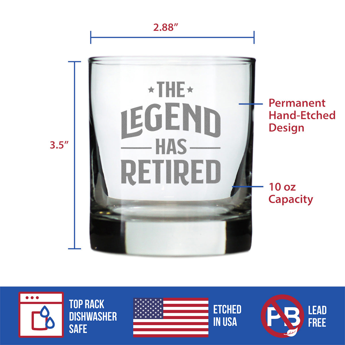 The Legend Has Retired - 10 Ounce Rocks Glass
