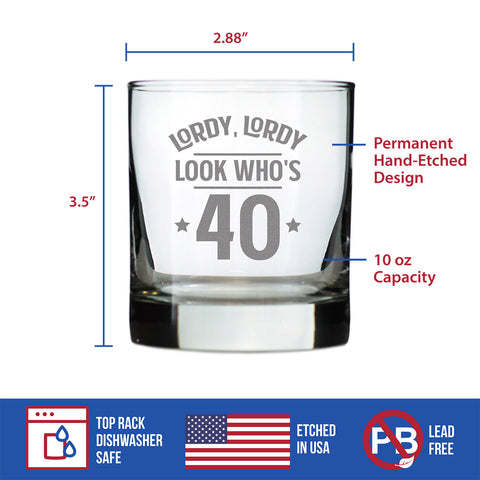 Lordy, Lordy Look Who's 40 - 10 Ounce Rocks Glass