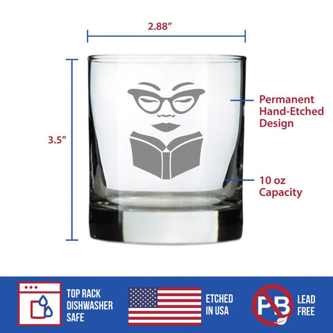 Book Reading Woman - 10 Ounce Rocks Glass