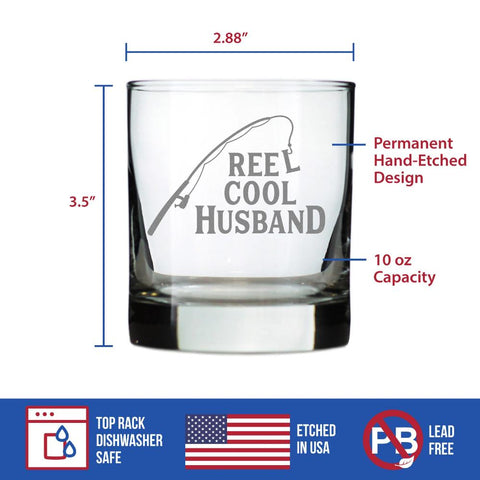 Image of Reel Cool Husband - 10 Ounce Rocks Glass