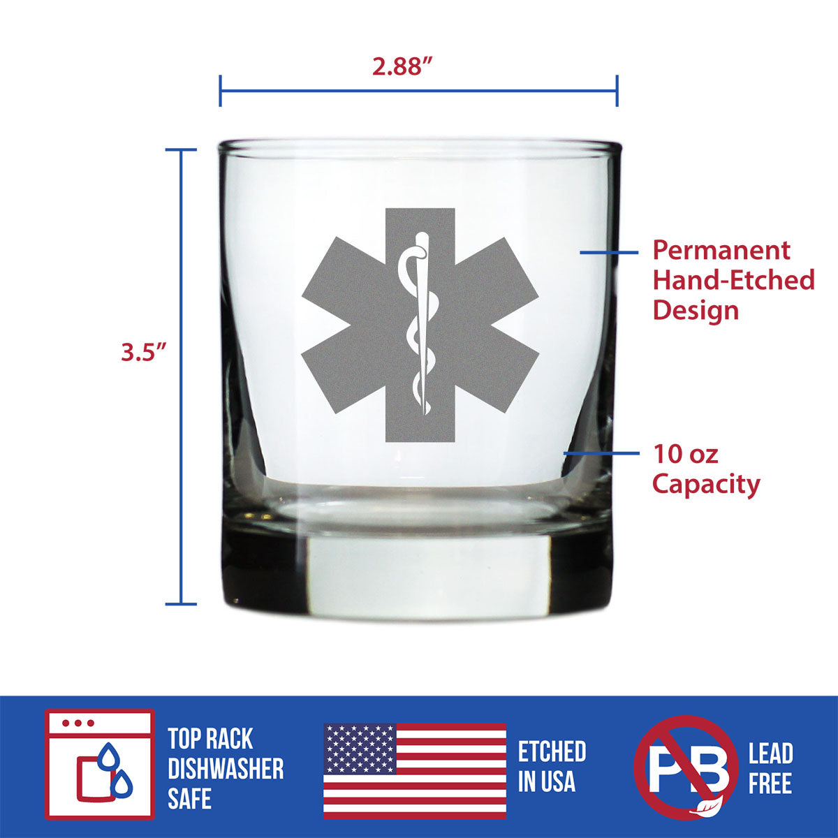 EMT Star of Life - 10 Ounce Rocks Glass