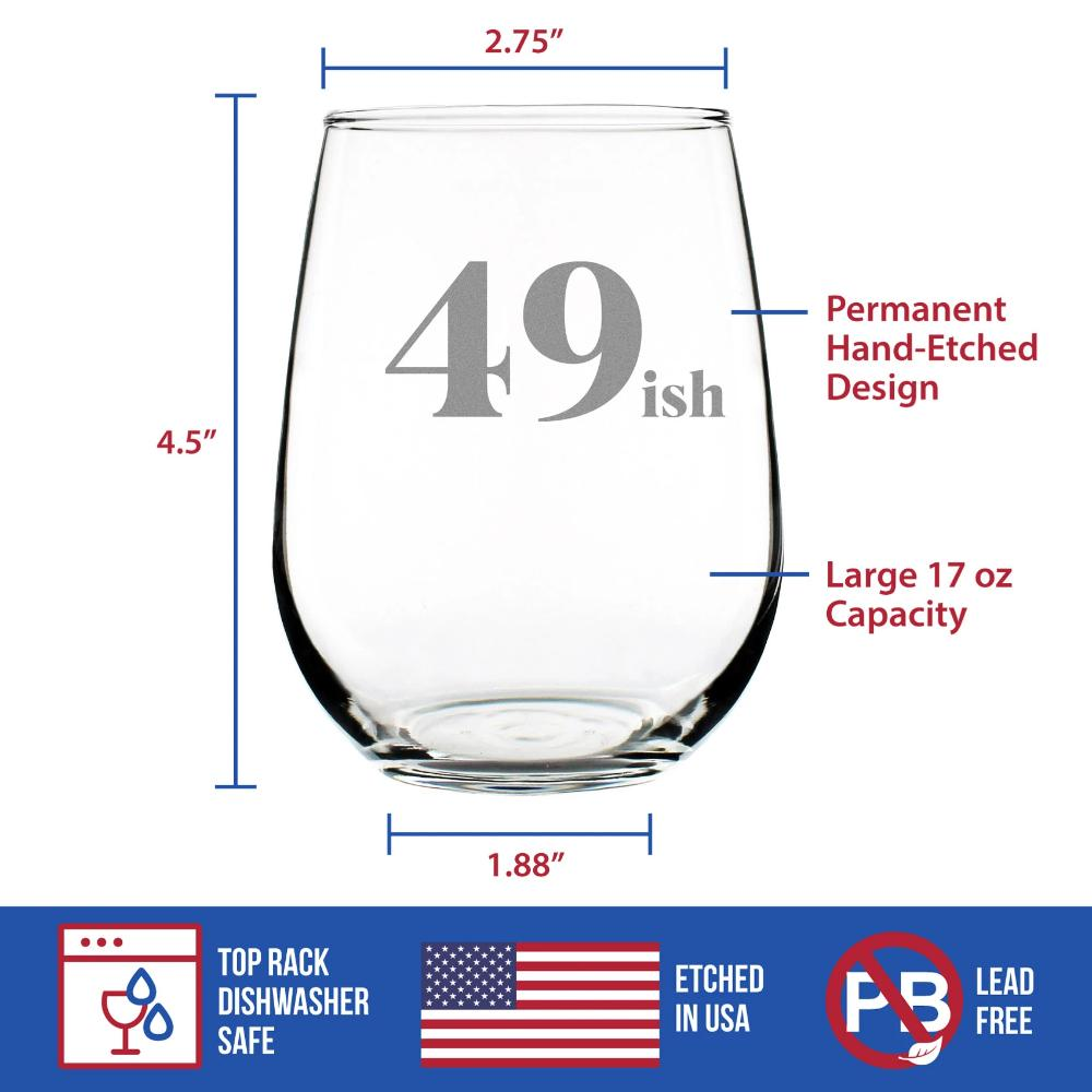 49ish - 17 Ounce Stemless Wine Glass