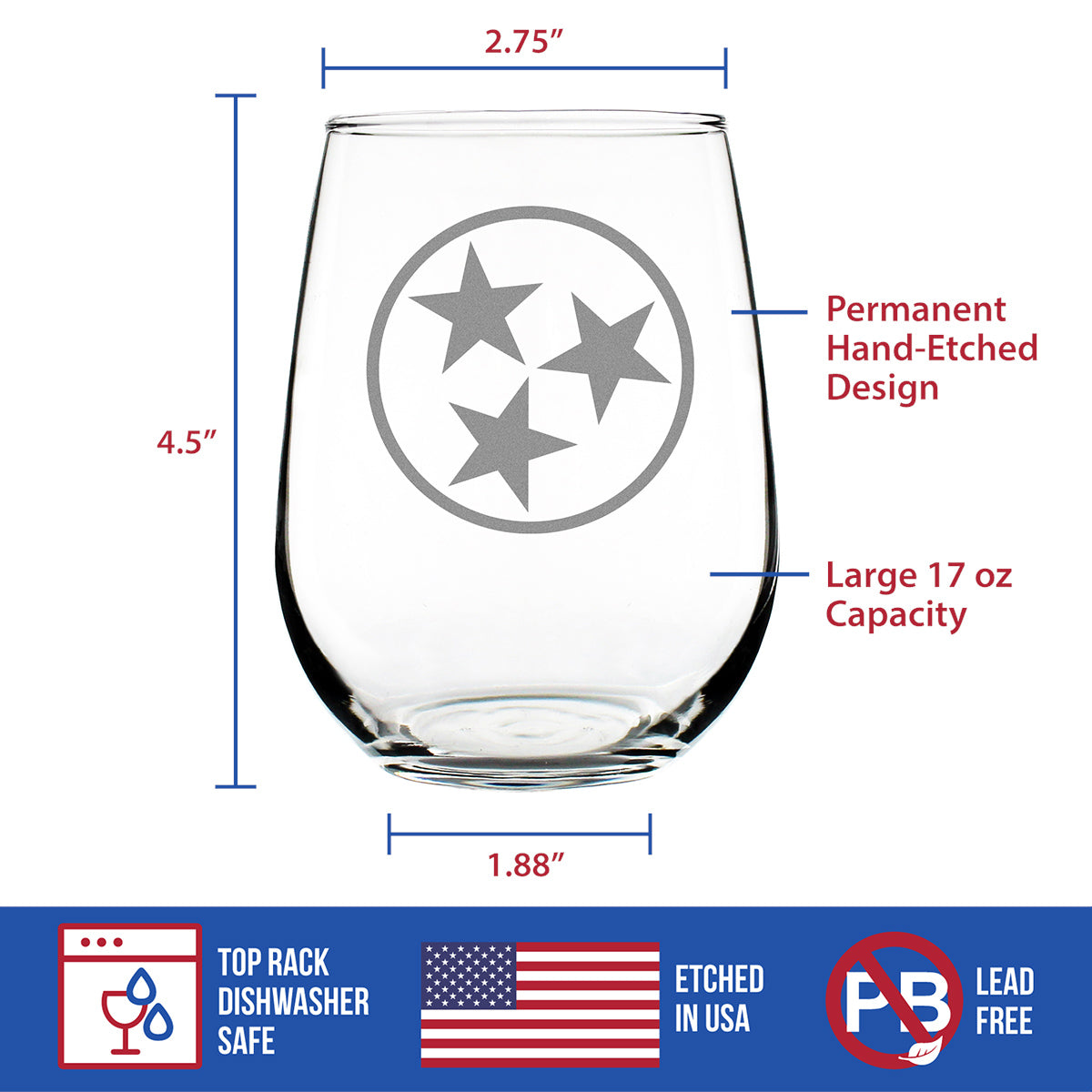 Tennessee Flag - 17 Ounce Stemless Wine Glass
