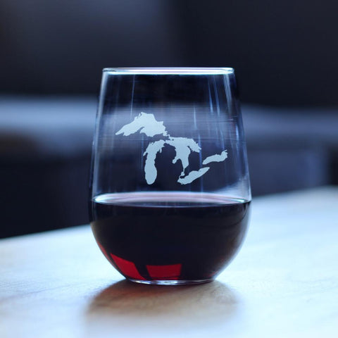 Image of Great Lakes - 17 Ounce Stemless Wine Glass