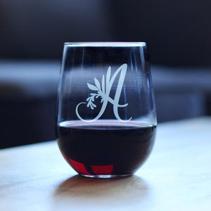 Monogram Floral Initial Letter A - 17 Ounce Stemless Wine Glass