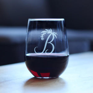 Monogram Floral Initial Letter B - 17 Ounce Stemless Wine Glass