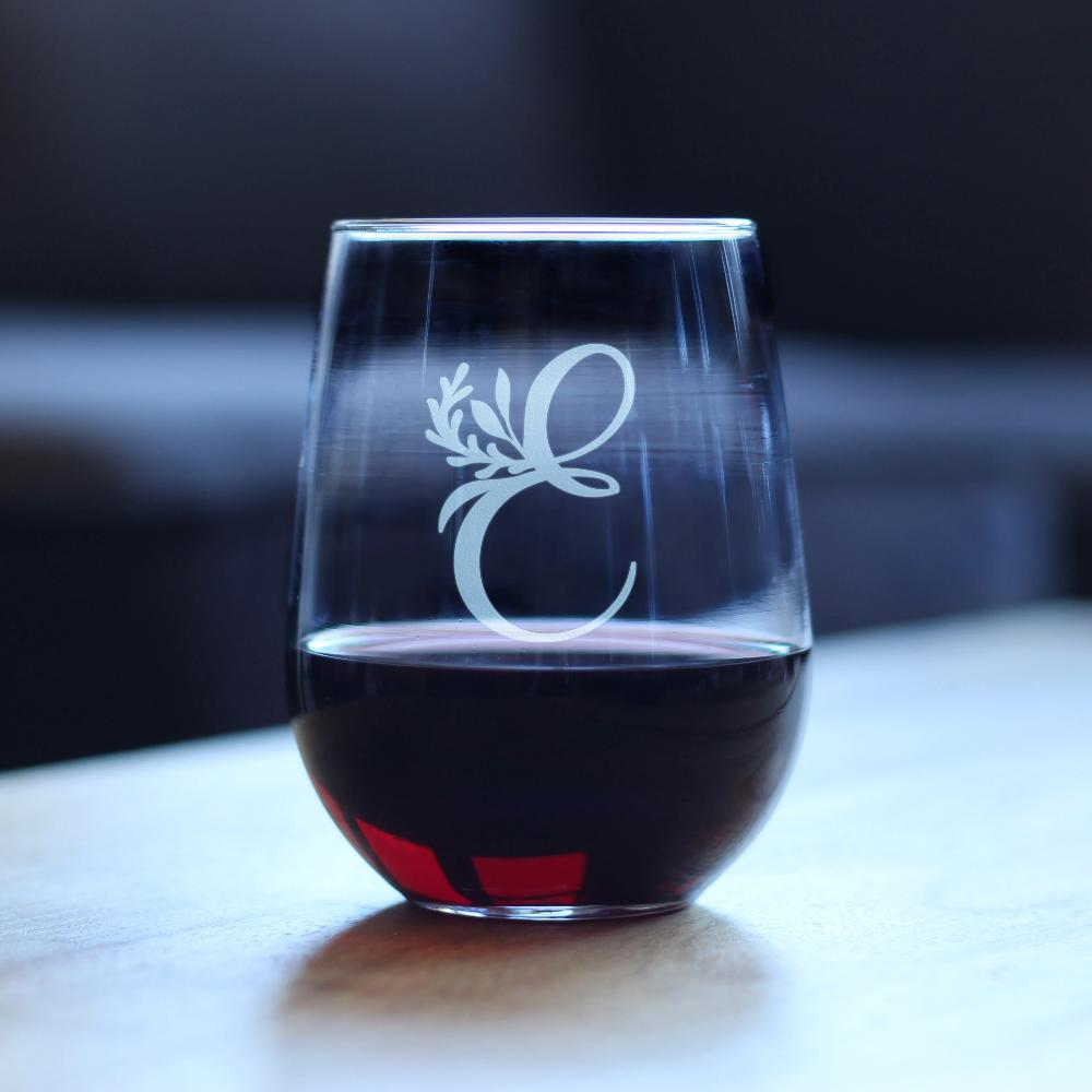 Monogram Floral Initial Letter E - 17 Ounce Stemless Wine Glass