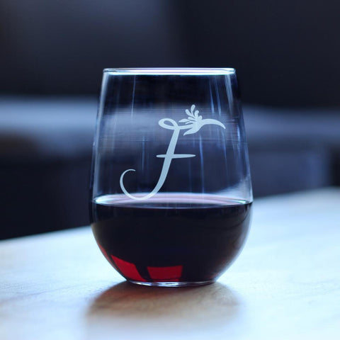 Image of Monogram Floral Initial Letter F - 17 Ounce Stemless Wine Glass