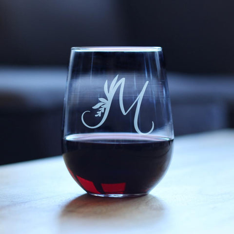Image of Monogram Floral Initial Letter M - 17 Ounce Stemless Wine Glass