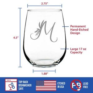 Monogram Floral Initial Letter M - 17 Ounce Stemless Wine Glass