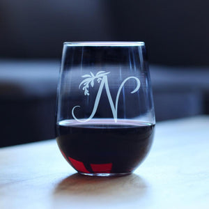 Monogram Floral Initial Letter N - 17 Ounce Stemless Wine Glass