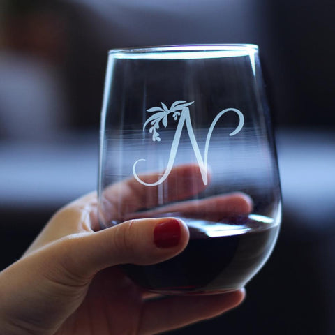Image of Monogram Floral Initial Letter N - 17 Ounce Stemless Wine Glass