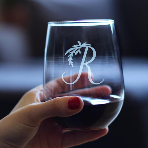 Monogram Floral Initial Letter R - 17 Ounce Stemless Wine Glass