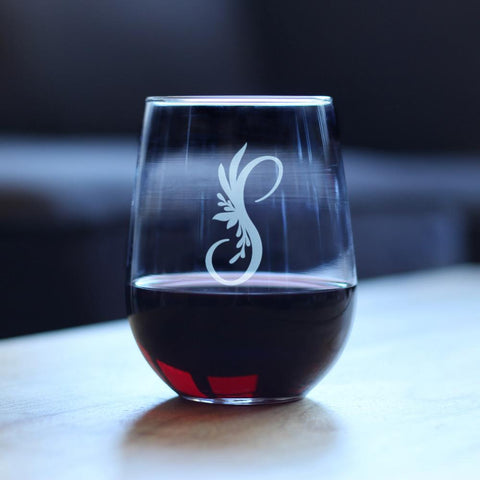 Image of Monogram Floral Initial Letter S - 17 Ounce Stemless Wine Glass