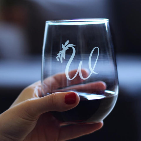 Monogram Floral Initial Letter W - 17 Ounce Stemless Wine Glass