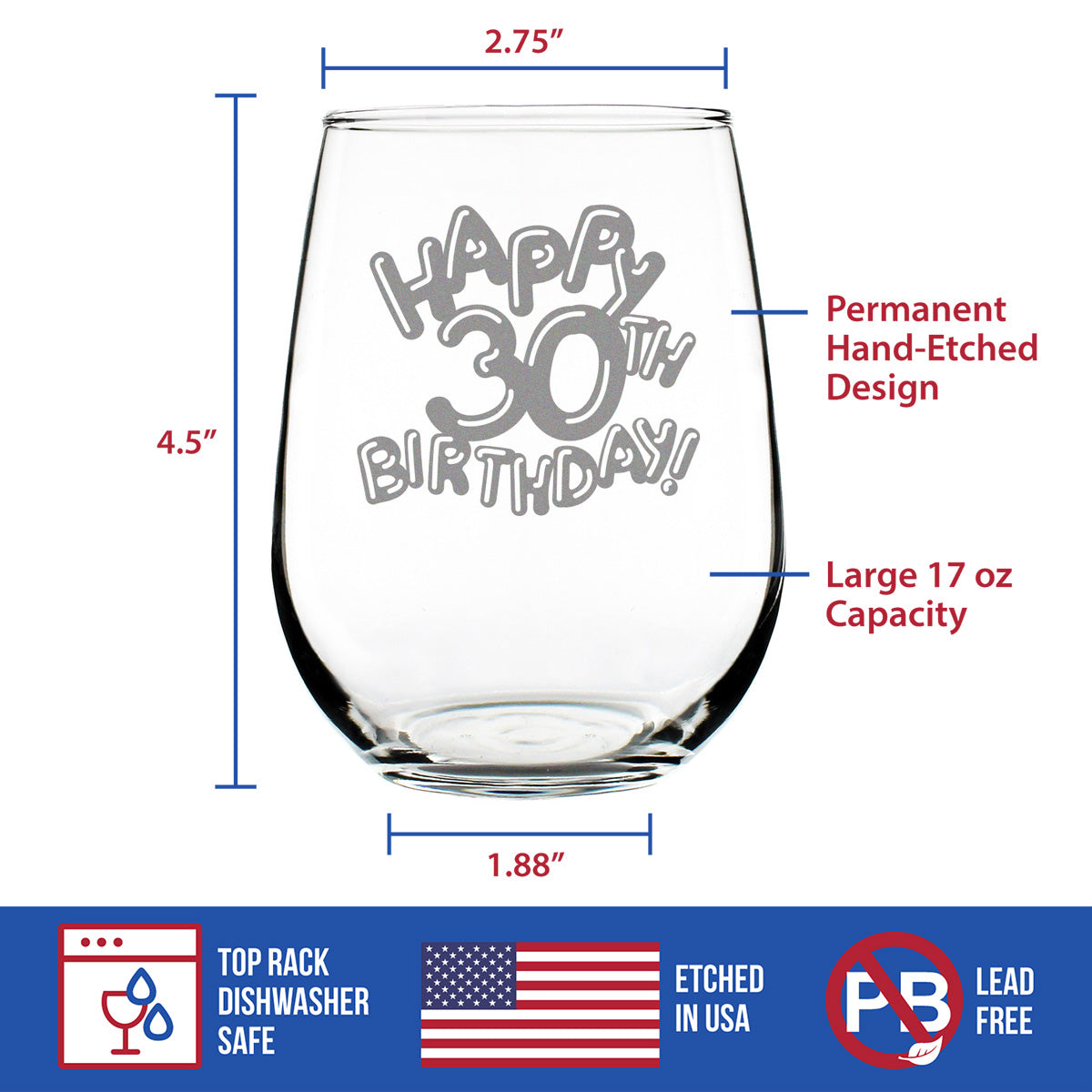 Happy 30th Birthday Balloons - 17 Ounce Stemless Wine Glass