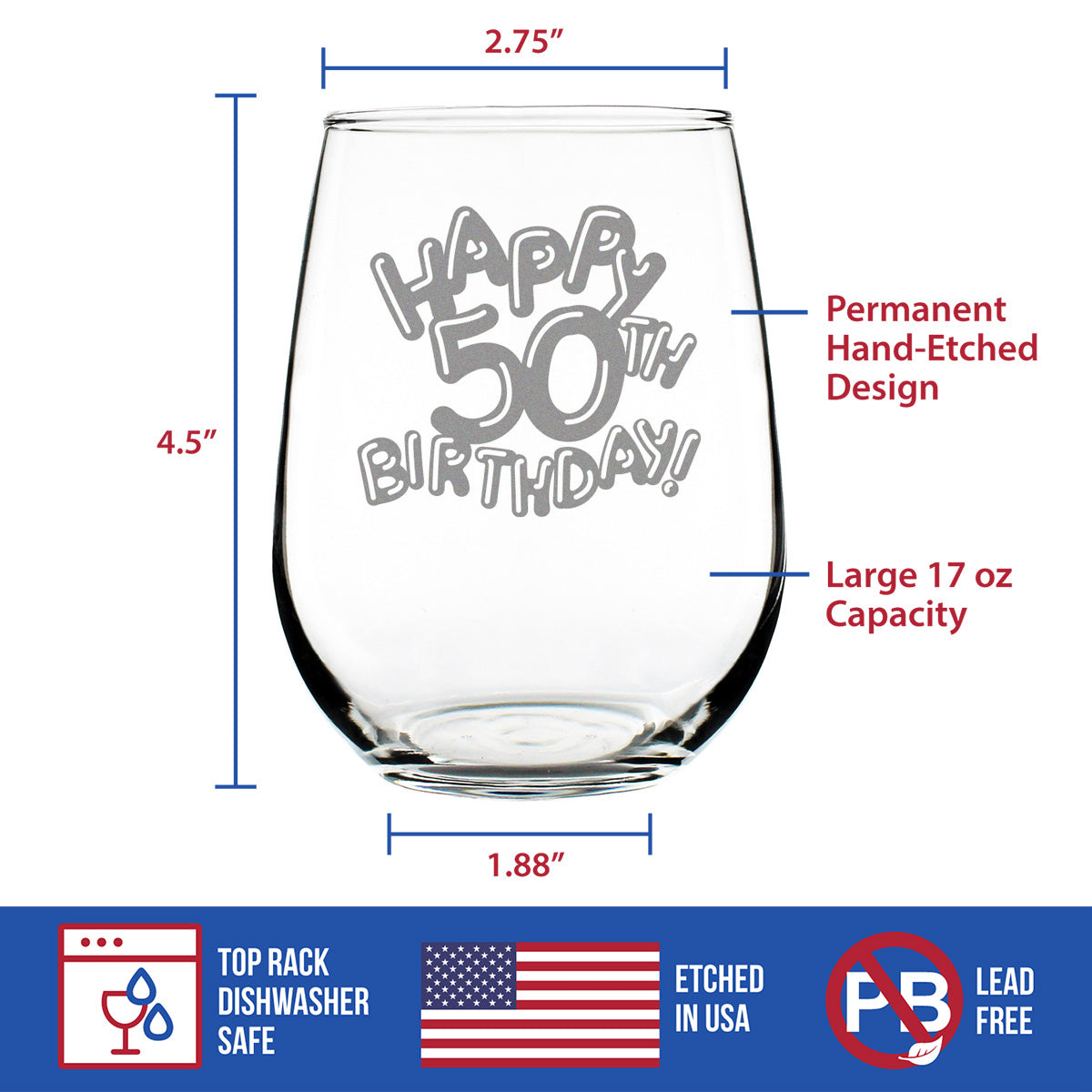 Happy 50th Birthday Balloons - 17 Ounce Stemless Wine Glass