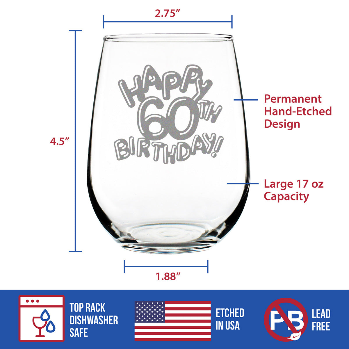 Happy 60th Birthday Balloons - 17 Ounce Stemless Wine Glass