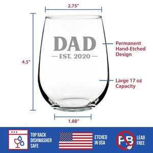 Dad Est. 2020 - Bold - 17 Ounce Stemless Wine Glass