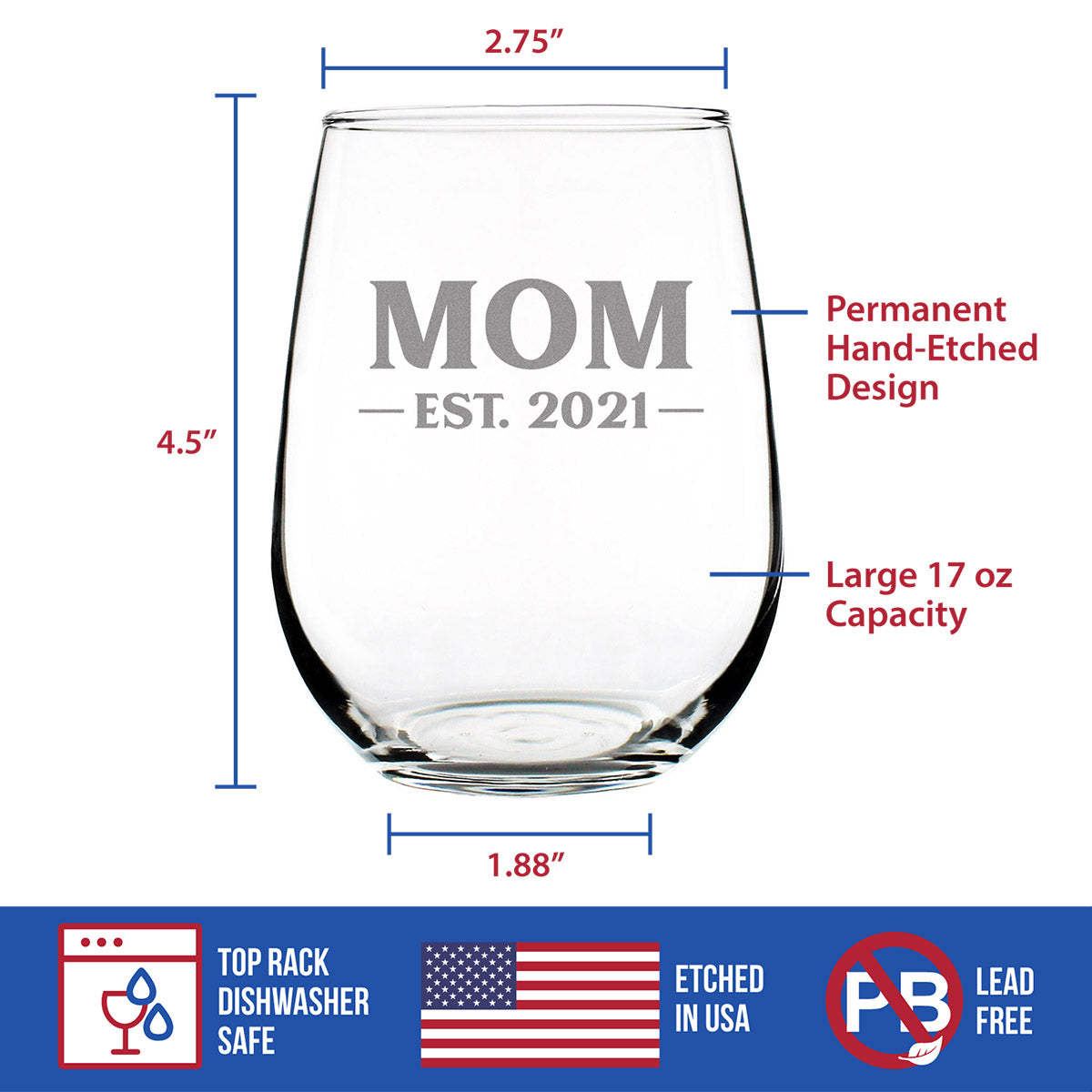 Mom Est. 2021 - Bold - 17 Ounce Stemless Wine Glass