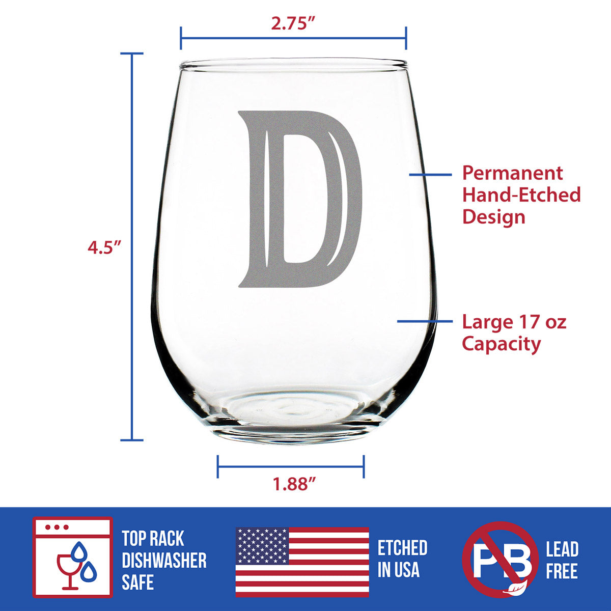 Bold Monogram Initial Letter D - 17 Ounce Stemless Wine Glass