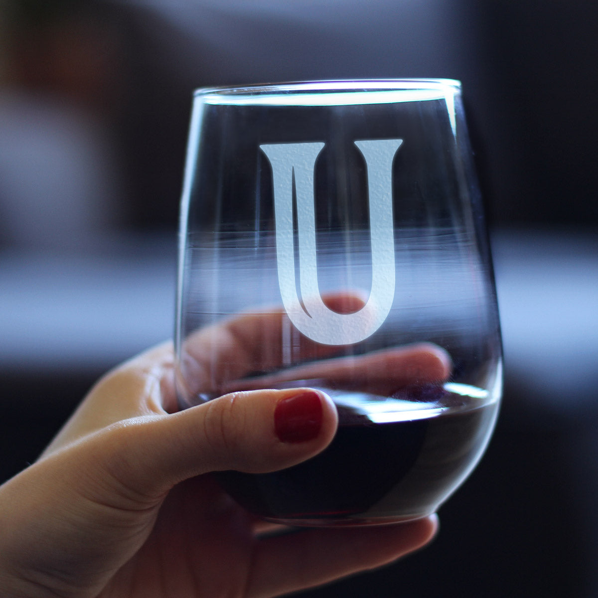Bold Monogram Initial Letter U - 17 Ounce Stemless Wine Glass