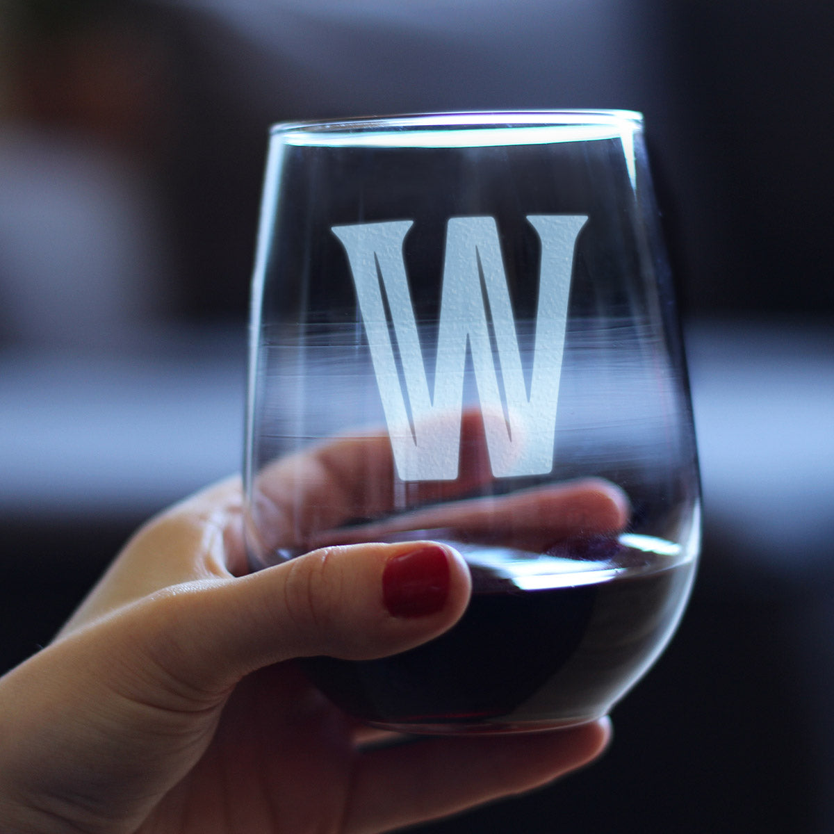 Bold Monogram Initial Letter W - 17 Ounce Stemless Wine Glass