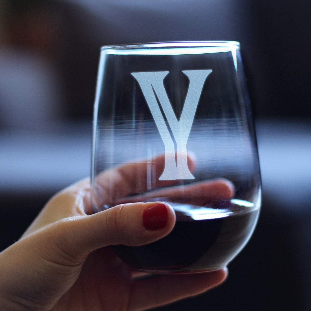 Bold Monogram Initial Letter Y - 17 Ounce Stemless Wine Glass