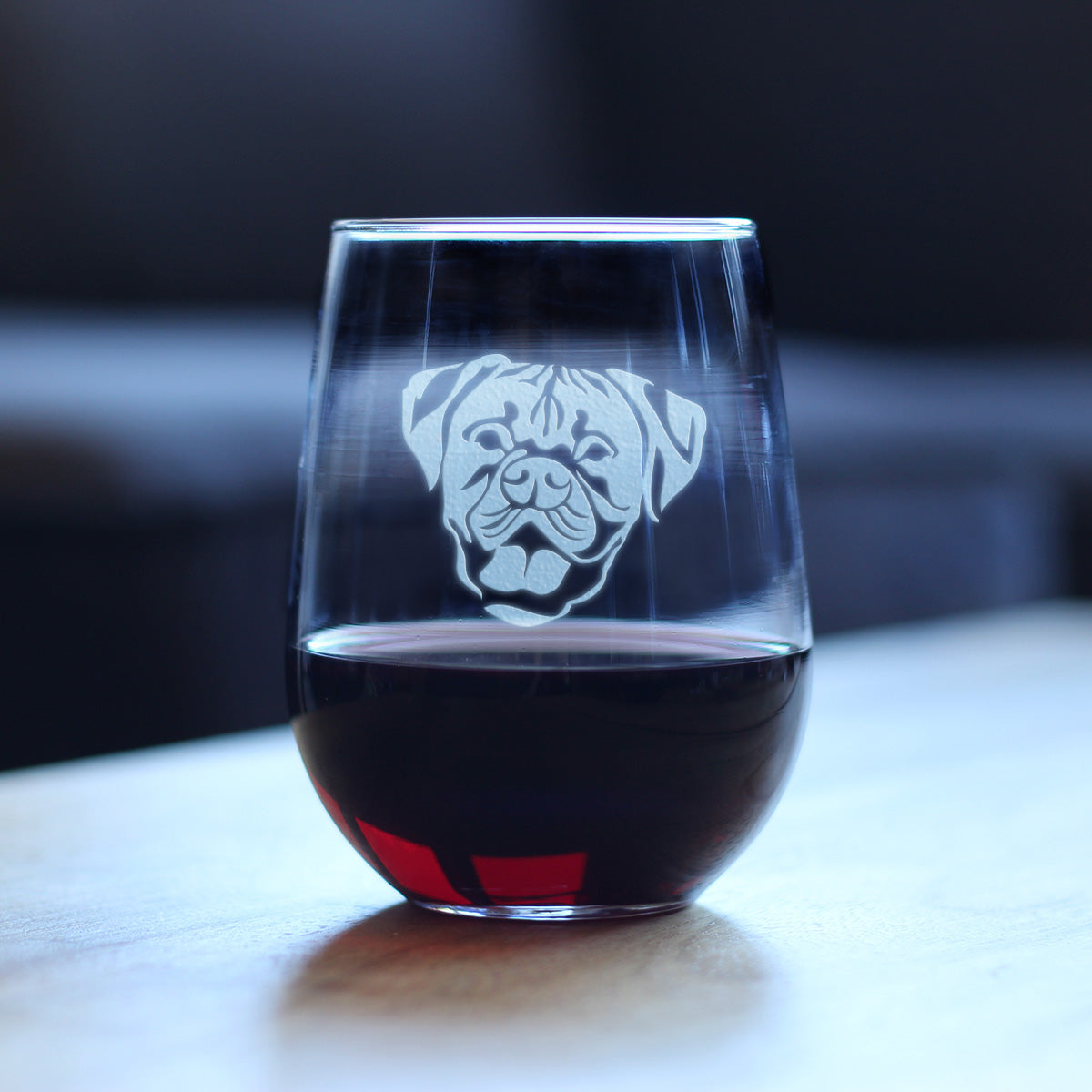 Happy Boxer Face | Natural Ears - 17 Ounce Stemless Wine Glass