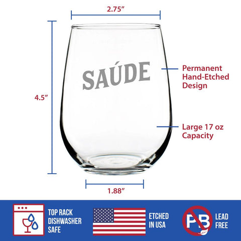 Cheers Portuguese - Saúde - 17 Ounce Stemless Wine Glass