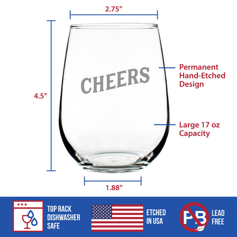 Cheers - 17 Ounce Stemless Wine Glass