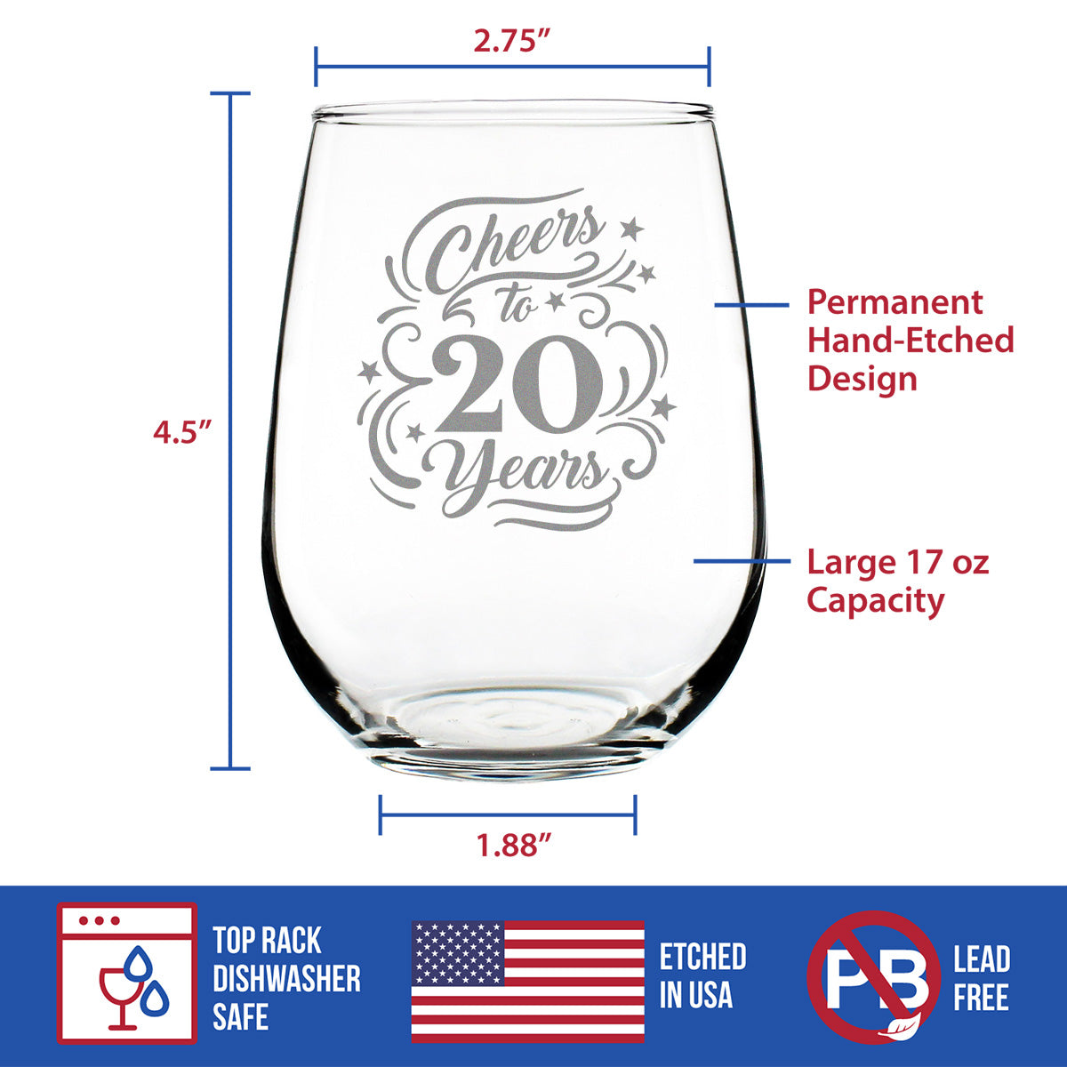 Cheers to 20 Years - 17 Ounce Stemless Wine Glass