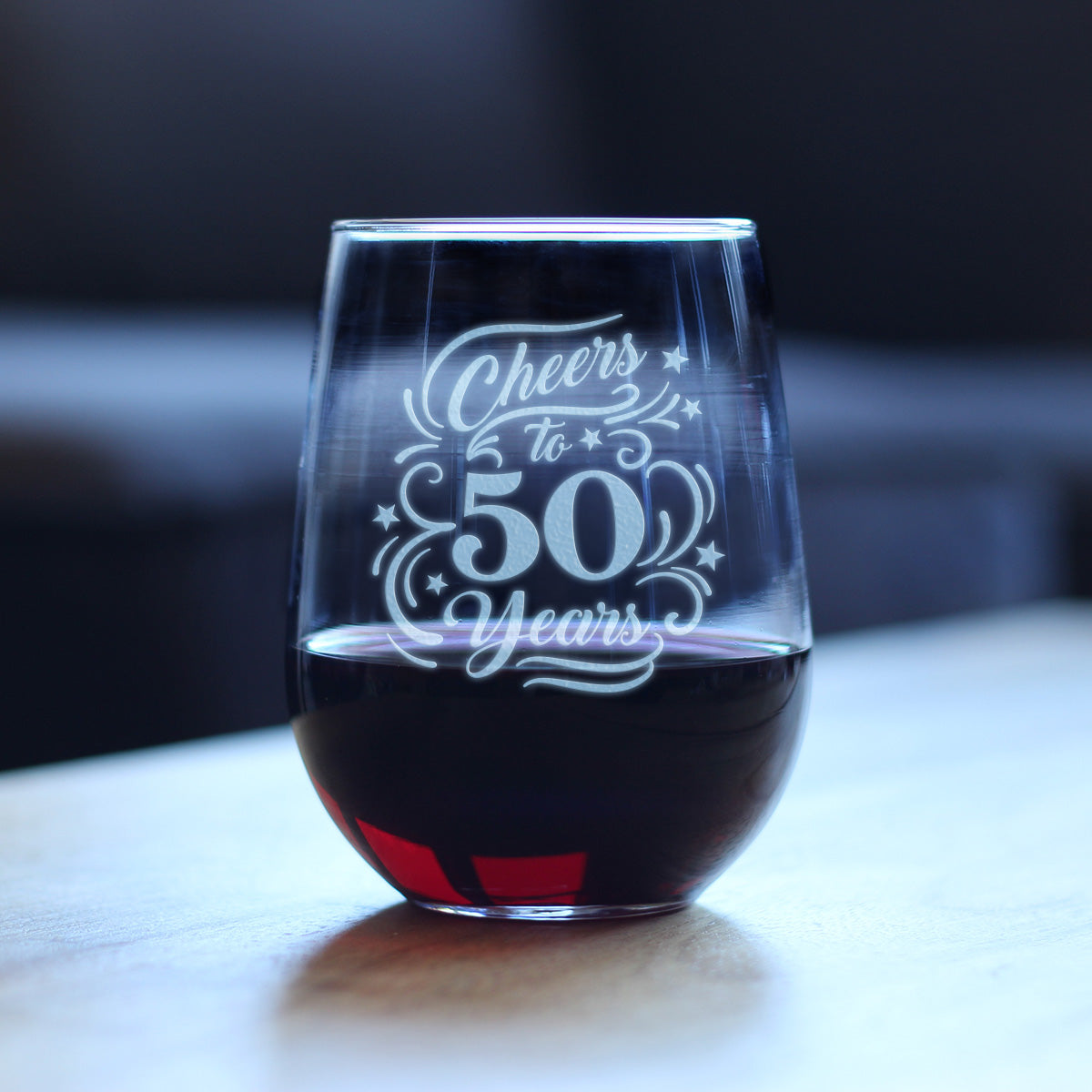 Cheers to 50 Years - 17 Ounce Stemless Wine Glass