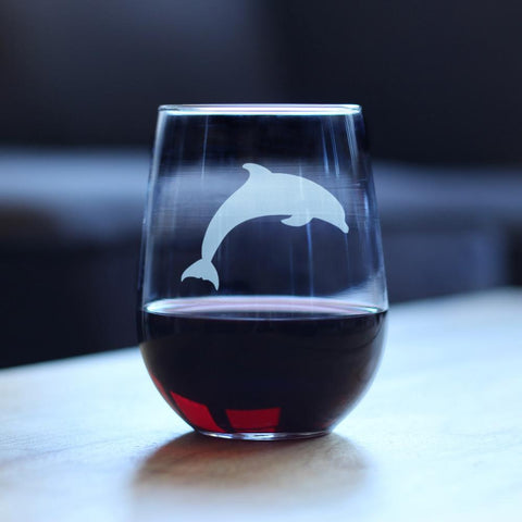 Image of Dolphin - 17 Ounce Stemless Wine Glass