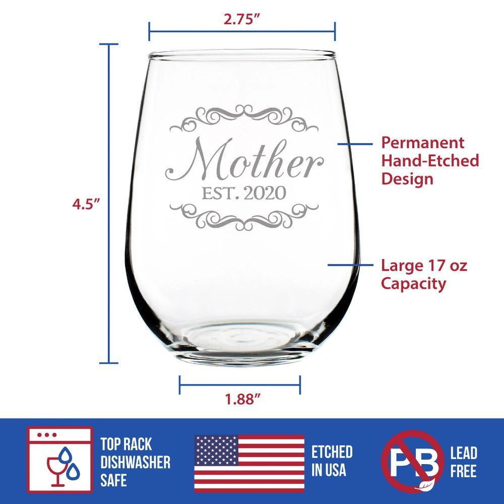 Mother Est. 2020 - 17 Ounce Stemless Wine Glass
