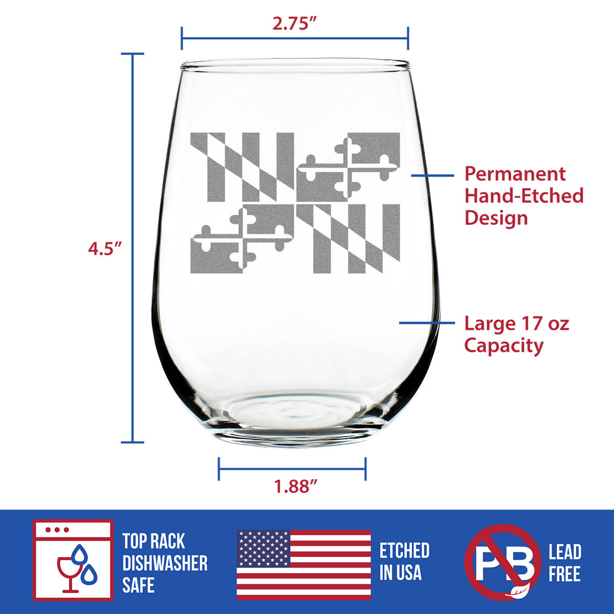Maryland Flag - 17 Ounce Stemless Wine Glass
