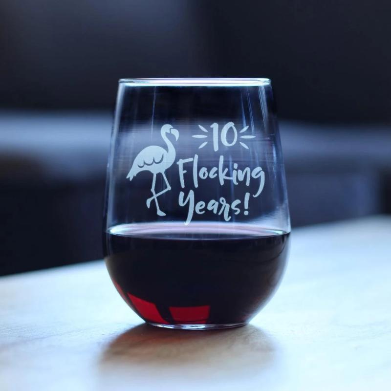 10 Flocking Years - 17 Ounce Stemless Wine Glass