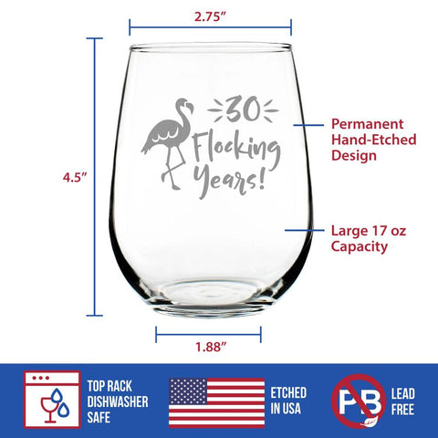 Image of 30 Flocking Years - 17 Ounce Stemless Wine Glass