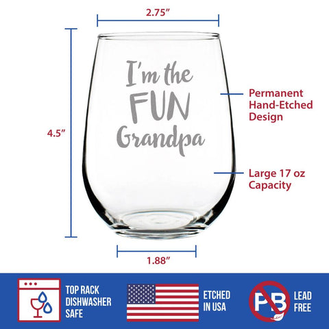 I'm The Fun Grandpa - 17 Ounce Stemless Wine Glass