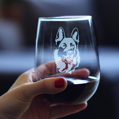 German Shepherd Happy Face - 17 Ounce Stemless Wine Glass