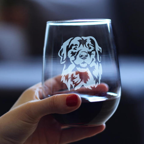 Image of Golden Retriever Happy Face - 17 Ounce Stemless Wine Glass