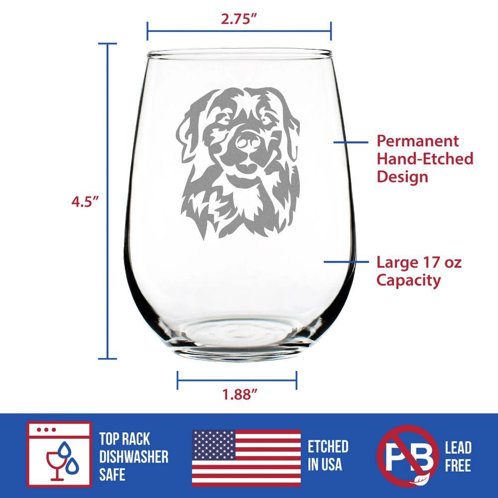 Golden Retriever Happy Face - 17 Ounce Stemless Wine Glass