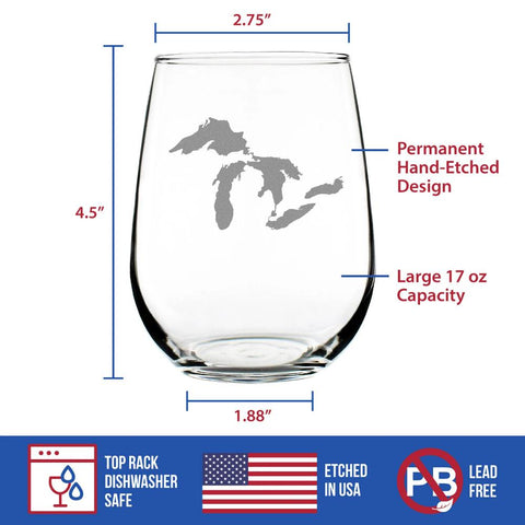 Great Lakes - 17 Ounce Stemless Wine Glass
