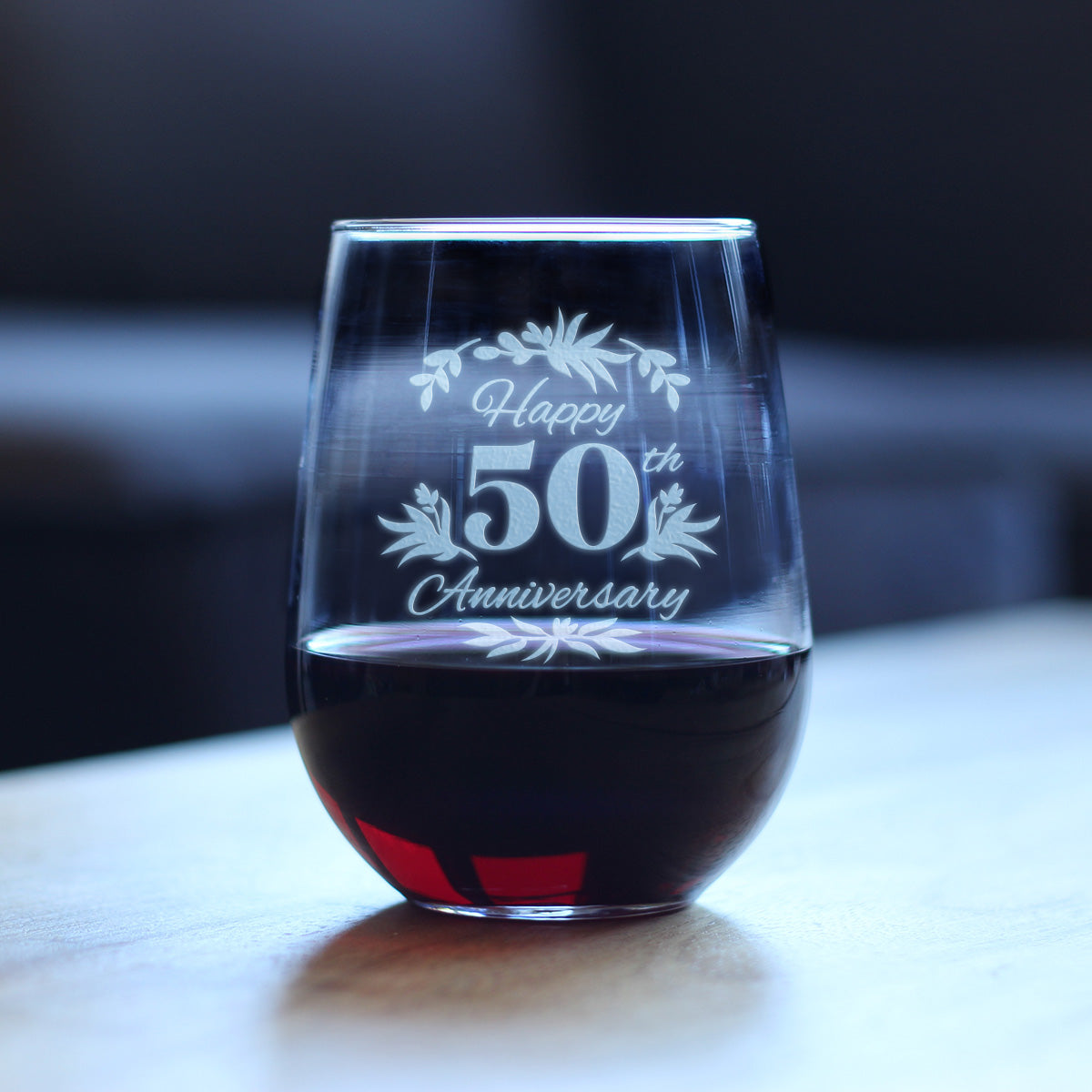 Happy 50th Anniversary - 17 Ounce Stemless Wine Glass
