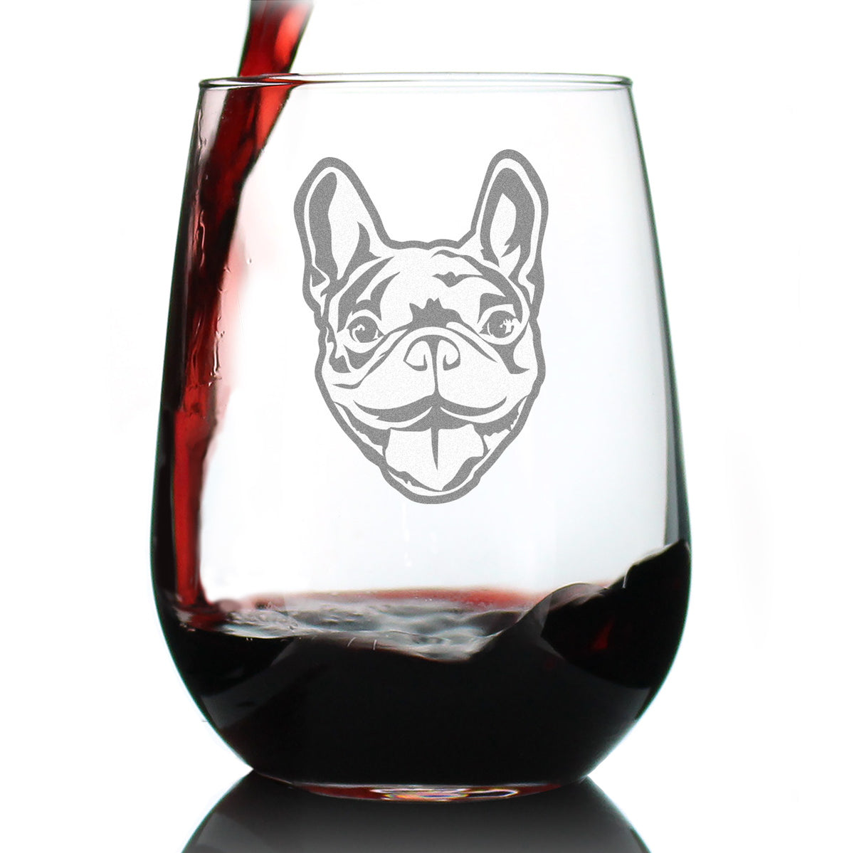 Happy French Bulldog Face - 17 Ounce Stemless Wine Glass