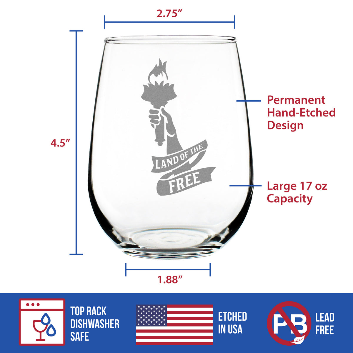 Land of the Free - 17 Ounce Stemless Wine Glass