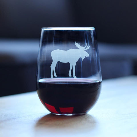 Image of Moose - 17 Ounce Stemless Wine Glass