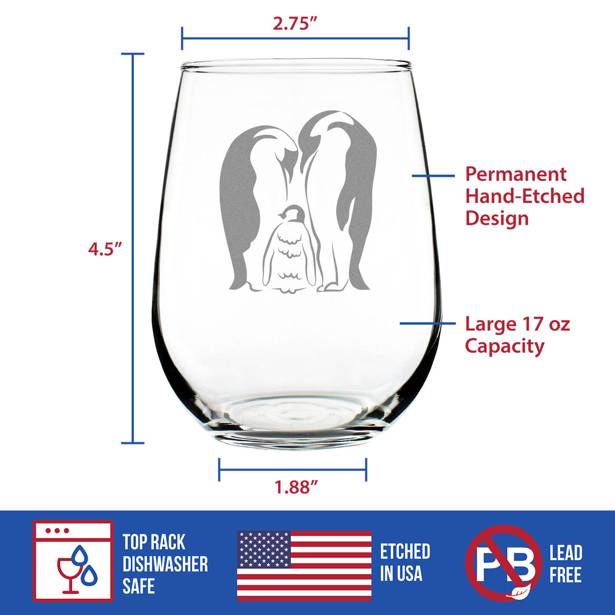 Penguin Love - 17 Ounce Stemless Wine Glass