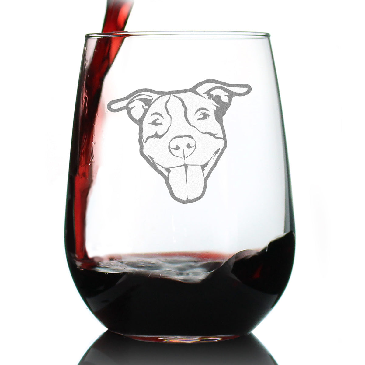 Happy Pitbull Face - 17 Ounce Stemless Wine Glass