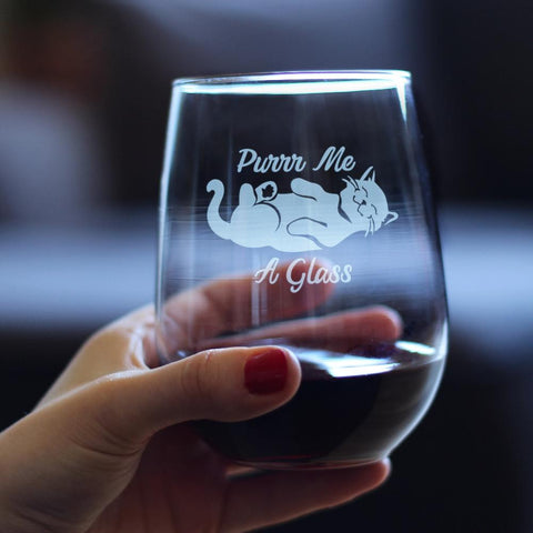 Image of Purr Me a Glass - 17 Ounce Stemless Wine Glass